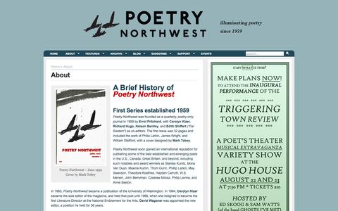 Screenshot of About Page poetrynw.org - Poetry NorthwestAbout | - captured Oct. 2, 2014