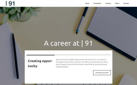 Screenshot of Jobs Page connect91.com - A career at | 91 a place of opportunity and selfactivation - captured Oct. 20, 2018