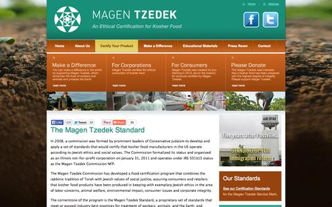 Screenshot of Home Page magentzedek.org - Magen Tzedek - An Ethical Certification for Kosher Food - captured Oct. 2, 2014