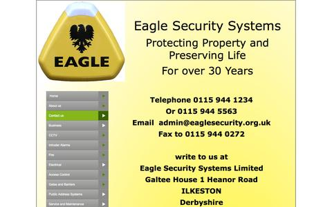 Screenshot of Contact Page eaglesecurity.org.uk - Contact us - captured Oct. 1, 2014