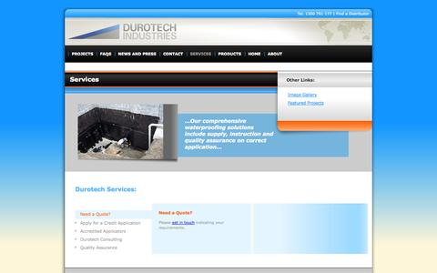 Screenshot of Services Page durotechindustries.com.au - Services «  Durotech Industries - captured Sept. 30, 2014