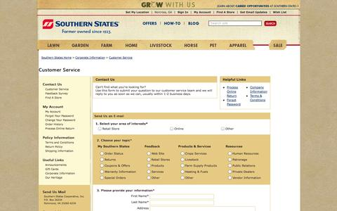 Screenshot of Contact Page Support Page southernstates.com - Contact Us - Southern States - captured Oct. 26, 2014
