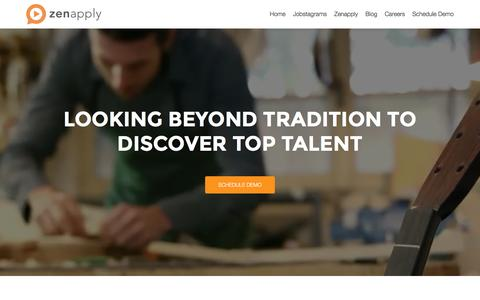 Screenshot of Home Page zenapply.com - Zenapply | Digitally Enlightened Hiring - captured May 20, 2016