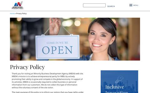 Screenshot of Privacy Page mbda.gov - Privacy Policy | Minority Business Development Agency - captured May 30, 2019
