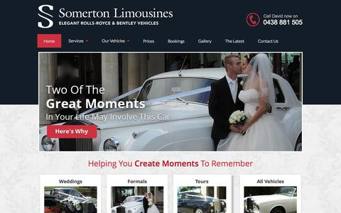 Screenshot of Home Page somertonlimousines.com.au - Wedding Car Hire Gold Coast - captured Aug. 31, 2015
