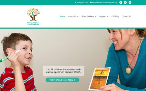 Screenshot of Home Page childsuccessfoundation.org - The Child Success Foundation - captured July 12, 2016