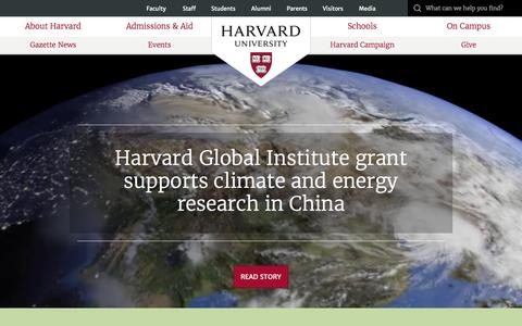 Screenshot of Home Page harvard.edu - Harvard University - captured Oct. 15, 2015