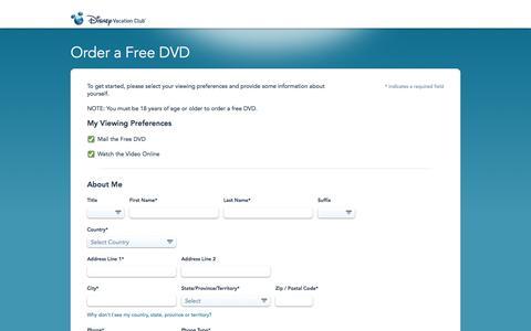 Screenshot of Landing Page go.com - Order Free Disney Vacation Club DVD - captured Aug. 27, 2016
