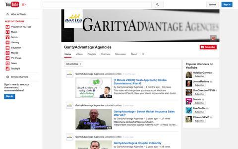 Screenshot of YouTube Page youtube.com - GarityAdvantage Agencies  - YouTube - captured Oct. 22, 2014
