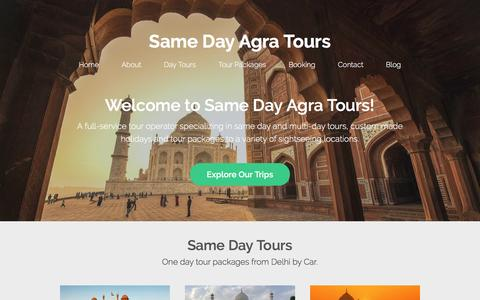 Screenshot of Home Page samedayagratours.in - Same Day Agra Tours - Delhi Agra Day Tour by Car & Driver - captured Jan. 19, 2017
