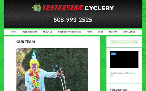 Screenshot of Team Page yesteryearcyclery.com - Our Team - YesterYear Cyclery - captured Jan. 27, 2018