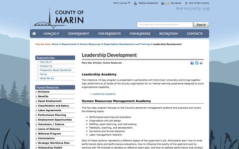 Screenshot of marincounty.org - Leadership Development - Human Resources - County of Marin - captured April 11, 2016