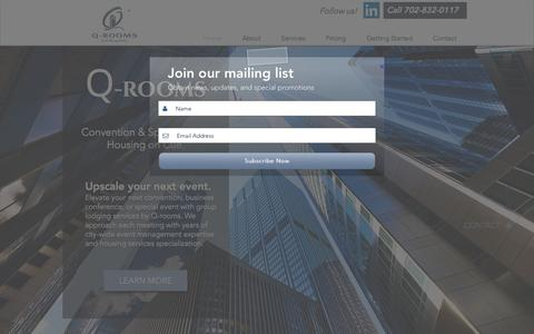 Screenshot of Home Page q-rooms.com - Q-rooms: Event housing on cue! | Convention Services - captured July 7, 2017