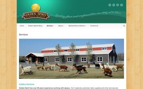 Screenshot of Services Page goldenspiritalpaca.com - Golden Spirit Alpaca Ranch  Golden Services - Buy, Breed, or Board. - captured Sept. 30, 2014