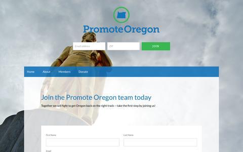 Screenshot of Signup Page promoteoregon.gop - Get Involved - Promote Oregon - captured June 25, 2016