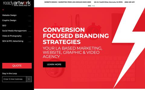 Screenshot of readyartwork.com - Website Design, SEO, Motion Video & Graphic Design CompanyReady Artwork | Website Design + Marketing from Los Angeles since 2003! - captured May 31, 2018