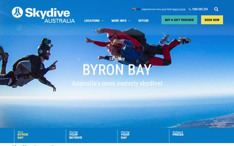 Screenshot of Locations Page skydive.com.au - Skydiving Byron Bay | 15,000ft Skydive with Gold Coast View - captured June 25, 2019