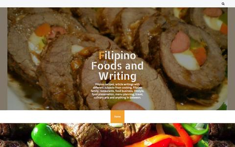 Screenshot of Home Page filipino-foods-and-writing.blogspot.com - Filipino Foods and Writing - captured Sept. 19, 2014