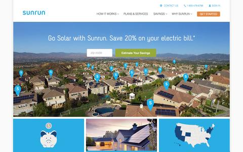Screenshot of Home Page sunrun.com - Sunrun Home Solar Lease & Installation Company - captured Oct. 1, 2015