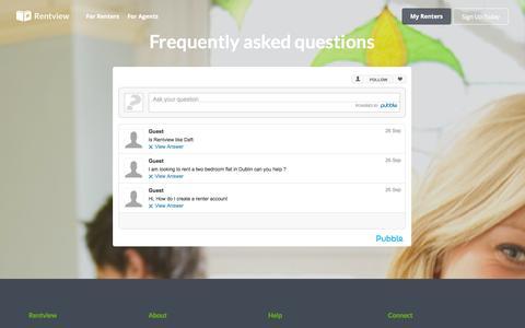Screenshot of FAQ Page rentview.com - Rentview | Find Your Next Renters - captured Nov. 3, 2014