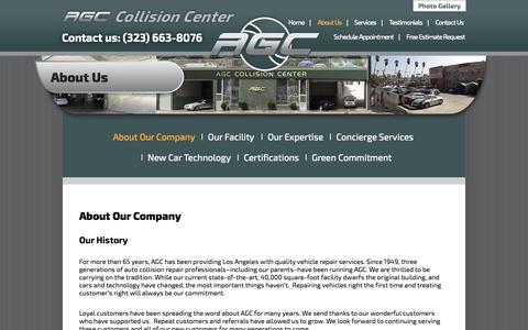 Screenshot of About Page agccollision.com - About Our Company » AGC Collision - captured Oct. 4, 2014