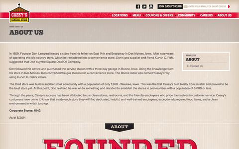 Screenshot of About Page caseys.com - About Us | Casey's General Store - captured Sept. 13, 2014