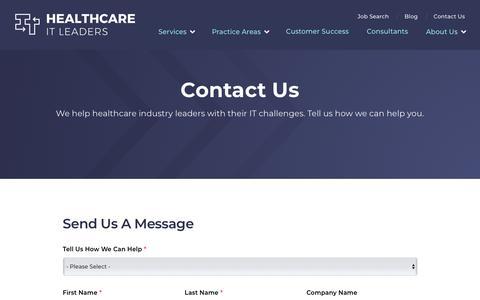 Screenshot of Contact Page healthcareitleaders.com - Contact Healthcare IT Leaders | Healthcare IT Leaders - captured Sept. 13, 2019