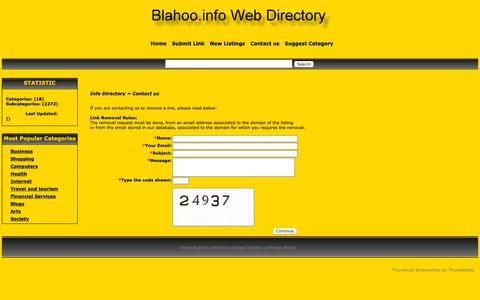 Screenshot of Contact Page blahoo.info - General Info Web Directory- Contact us - captured Sept. 30, 2018