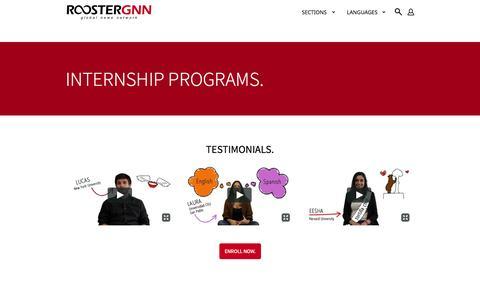 Screenshot of Testimonials Page roostergnn.com - Internship Programs: Testimonials - ROOSTERGNN - captured Nov. 5, 2014