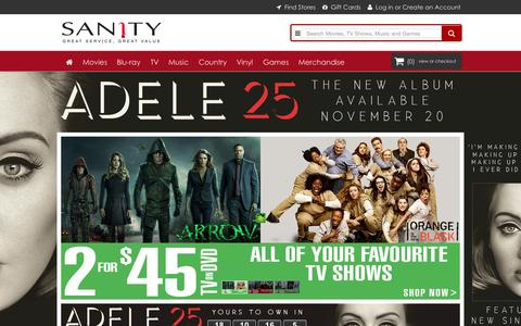 Screenshot of Home Page sanity.com.au - Sanity | Buy Movies, TV Shows, Music, DVDs, Blu-ray, CDs and Games Online - captured Nov. 1, 2015