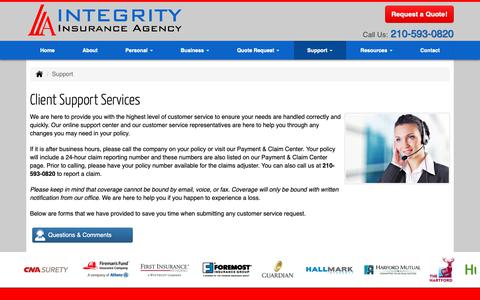 Screenshot of Support Page integrityins.com - Client Support Services for Integrity Insurance Agency, Inc. in San Antonio Texas - captured Oct. 12, 2018