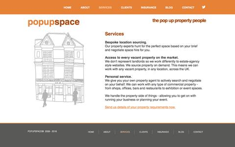Screenshot of Services Page popupspace.com - Active location sourcing for pop ups - captured Nov. 8, 2016
