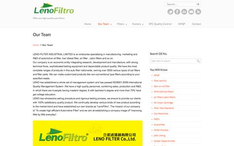 Screenshot of Team Page lenofilter.com - China filter manufacture, China auto filter factories,suppliers and exporters   Leno Filter-Auto Filter Manufacture China - captured Oct. 2, 2014
