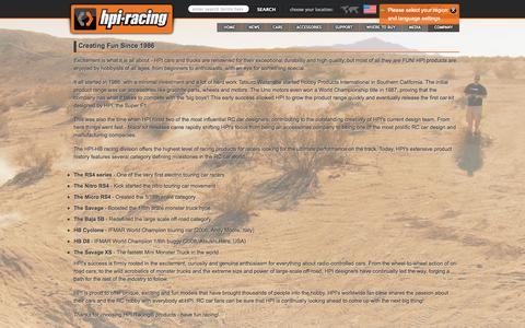 Screenshot of About Page hpiracing.com - Creating Fun Since 1986 - HPI Racing - captured Sept. 19, 2014