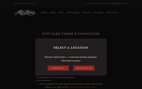 Screenshot of Terms Page abeandlouies.com - Gift Card Terms & Conditions - Abe & Louie's - captured Sept. 11, 2018