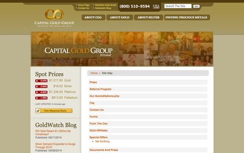 Screenshot of Site Map Page startwithgold.com - CGG - Site Map - captured Sept. 19, 2014
