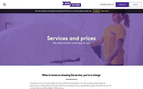 Screenshot of Pricing Page bnbsitter.com - Services and prices - Bnbsitter - captured July 30, 2016