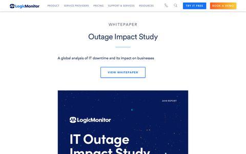 Screenshot of Case Studies Page logicmonitor.com - Outage Impact Study   LogicMonitor Resource - captured Dec. 12, 2019