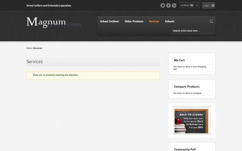 Screenshot of Services Page magnumenterprises.co.uk - Services - captured Oct. 4, 2014