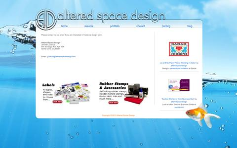 Screenshot of Contact Page alteredspacedesign.com - Contact Me - Jennifer Julianus, Freelance Graphic Designer, San Jose, CA - Altered Space Design - captured Sept. 30, 2014
