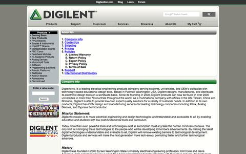 Screenshot of About Page digilentinc.com - Digilent Inc. - Digital Design Engineer's Source - captured Jan. 7, 2016