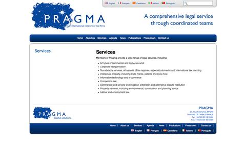Screenshot of Services Page pragma-eu.com - Pragma - captured Oct. 2, 2014