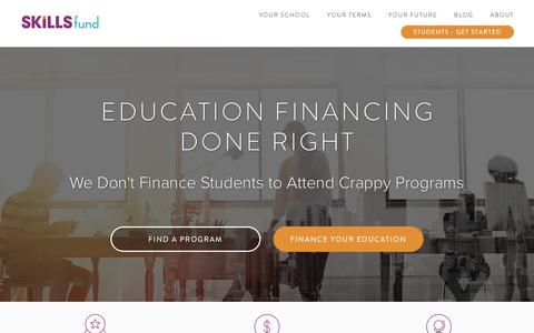 Screenshot of Home Page skills.fund - Student Loans for Outcomes-Based Skills Training Programs - Skills Fund: Revolutionizing Higher Education - captured July 8, 2018