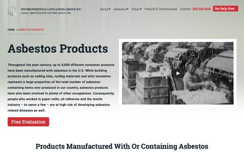Screenshot of Products Page elglaw.com - Products With Asbestos Exposure | Environmental Litigation Group, P.C. - captured Sept. 25, 2018