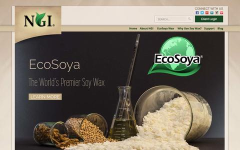 Screenshot of Home Page ngielements.com - Nature's Gifts International - Creators of EcoSoya Soy Wax - captured Jan. 23, 2015