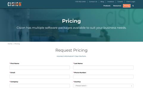 Screenshot of Pricing Page cision.com - Pricing - Cision - captured April 30, 2018
