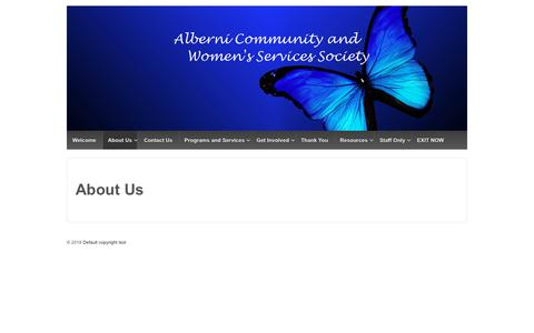 Screenshot of About Page acaws.ca - About Us – Alberni Community and Woman's Services Society - captured Dec. 18, 2018