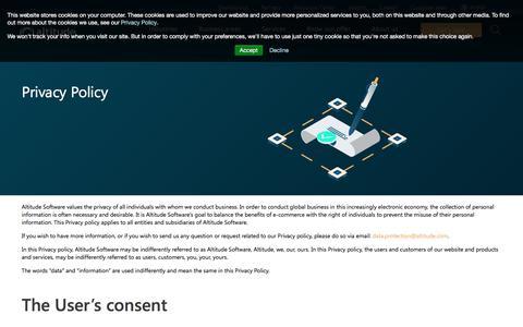 Screenshot of Privacy Page altitude.com - Privacy Policy | Altitude Software - captured Nov. 25, 2019