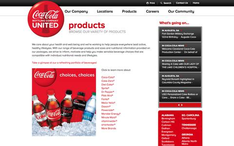 Screenshot of Products Page cocacolaunited.com - Products - Coca-Cola Bottling Company United, Inc. - captured Aug. 10, 2017