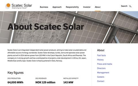 Screenshot of About Page scatecsolar.com - About | scatecsolar.com - captured Sept. 23, 2014
